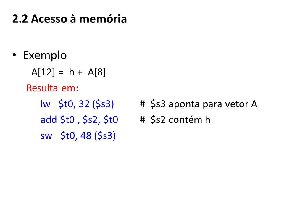 2.2 Acesso à memória Exemplo A[12] = h + A[8] Resulta em: